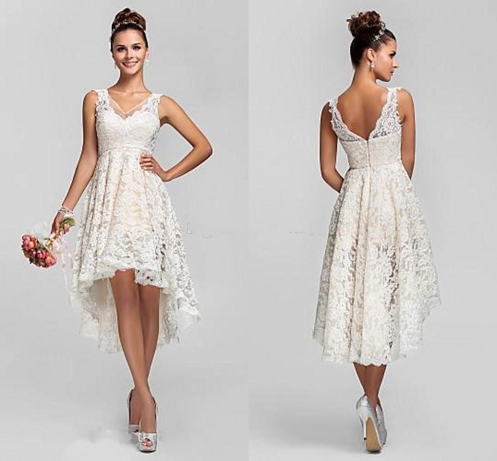 Short Lace Wedding Dresses 2015 Cute Hi Lo Wedding Gowns V Neck Sheer Straps Knee Length P Wedding Dresses High Low Short Lace Wedding Dress Short Bridal Dress