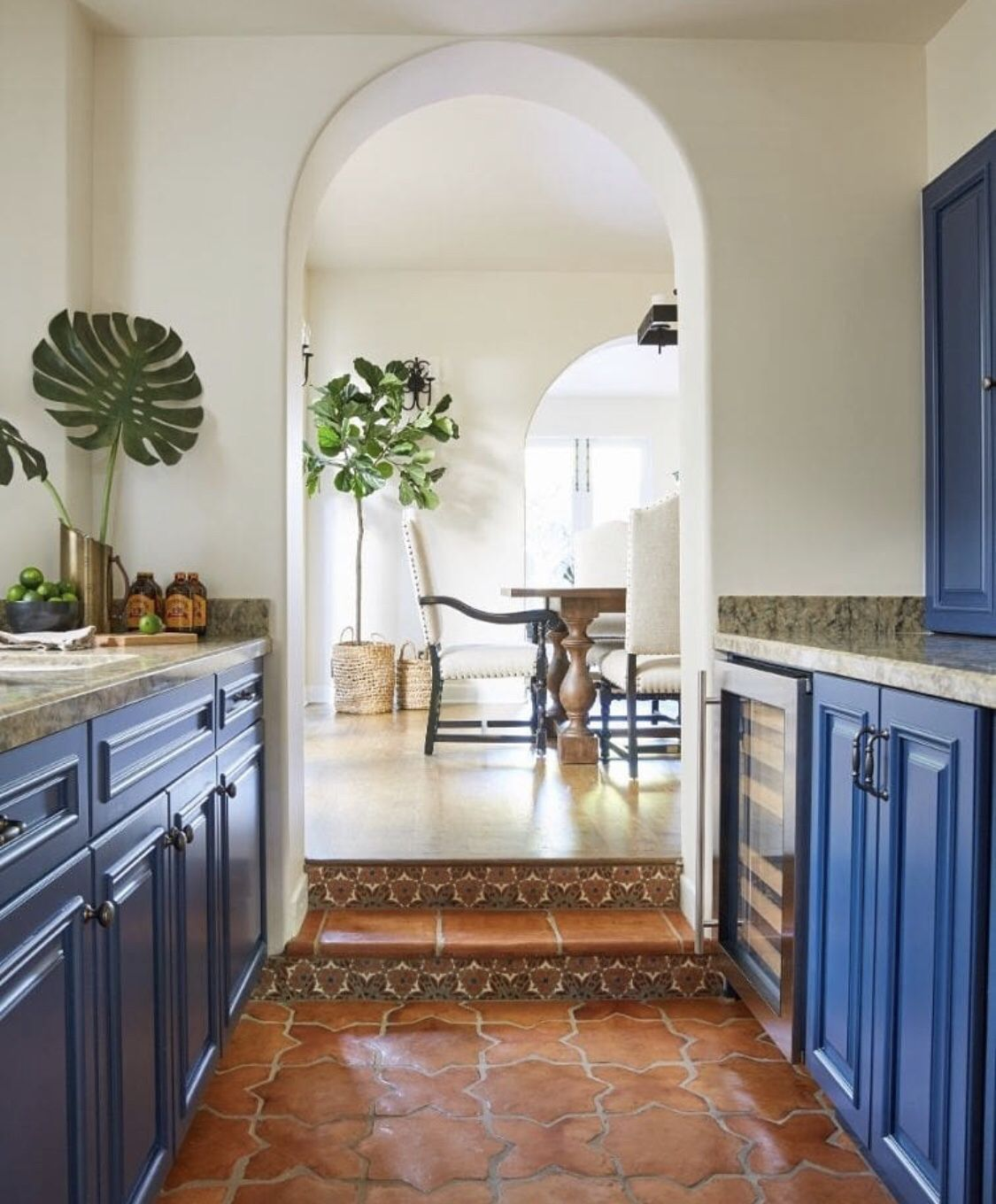Terracotta Glazed Brick Mediterranean Kitchen Design
