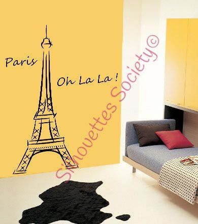 Eiffel Tower Ooh La La Paris Removable Vinyl Wall Art Decal Sticker ...
