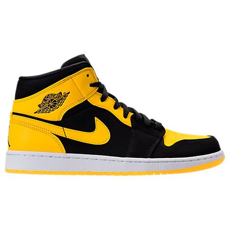 3ebac5cf195 NIKE AIR JORDAN RETRO 1 MID RETRO BASKETBALL SHOES, YELLOW/BLACK. #nike  #shoes #
