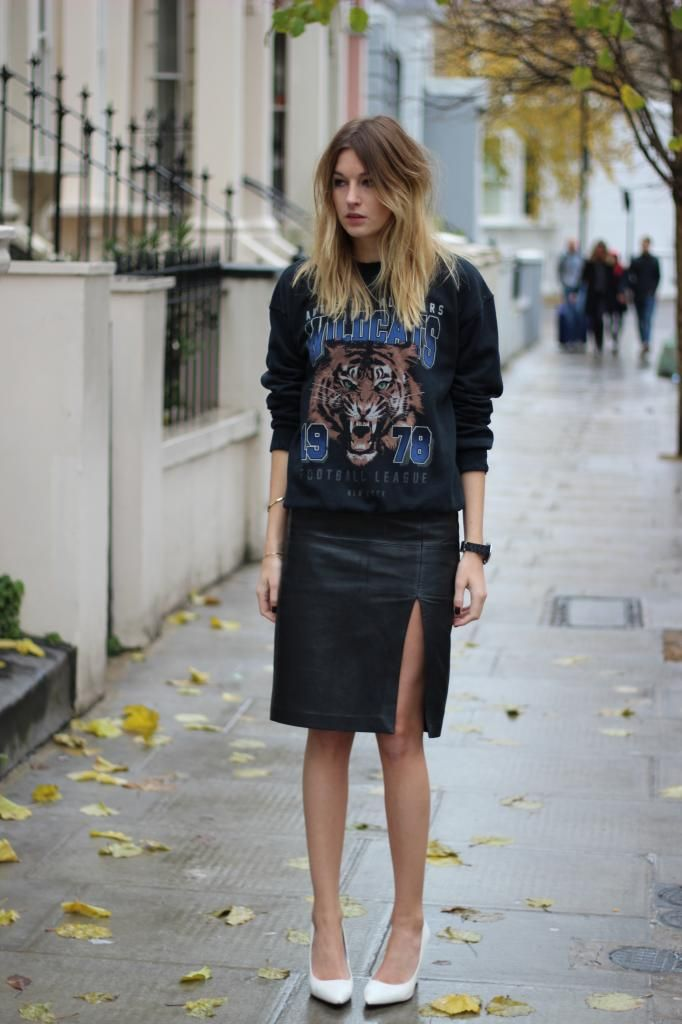 Gina Tricot sweatshirt, an old H & M trend leather pencil skirt ...