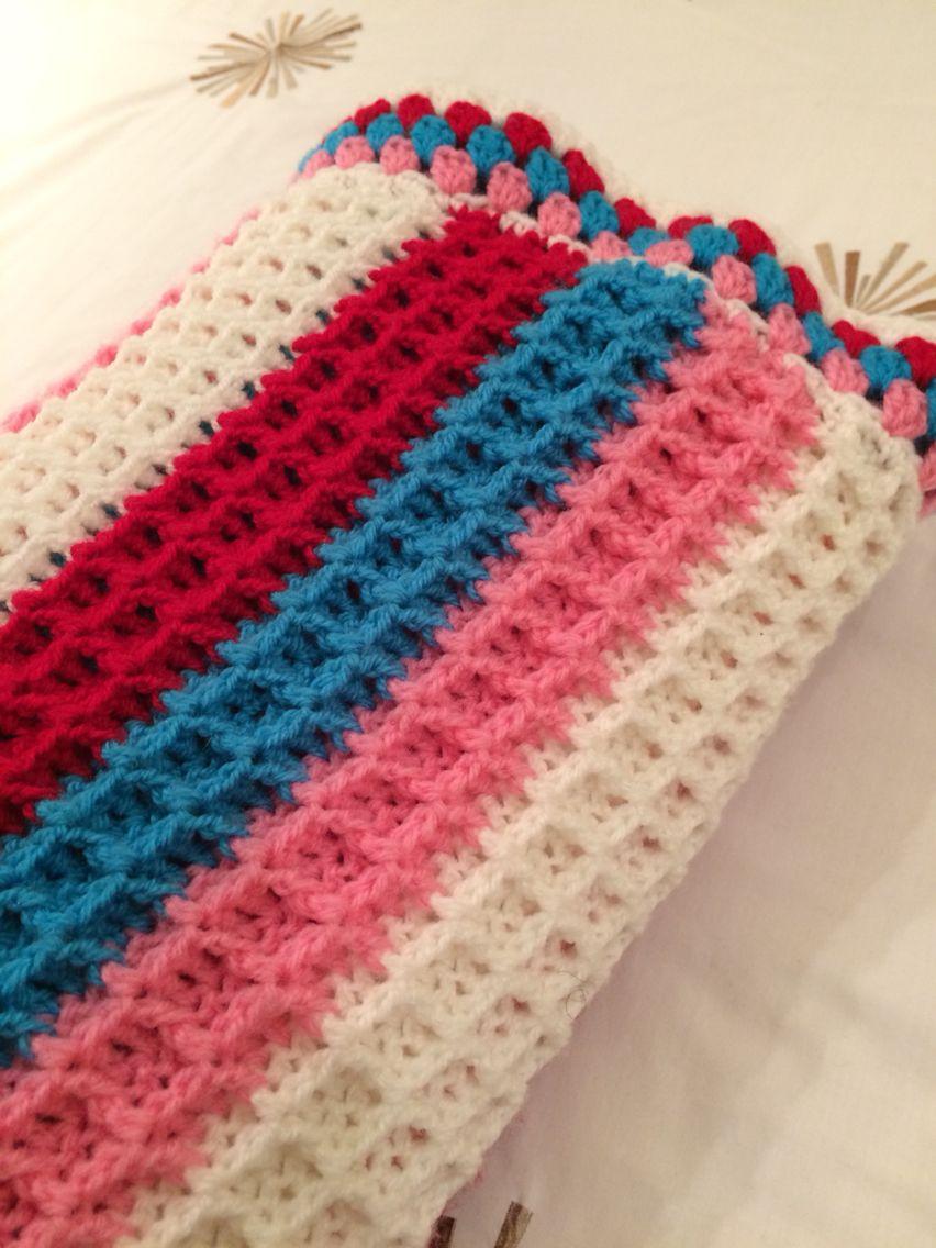 Crochet waffle stitch blanket complete. | I ♥ Crochet | Pinterest ...