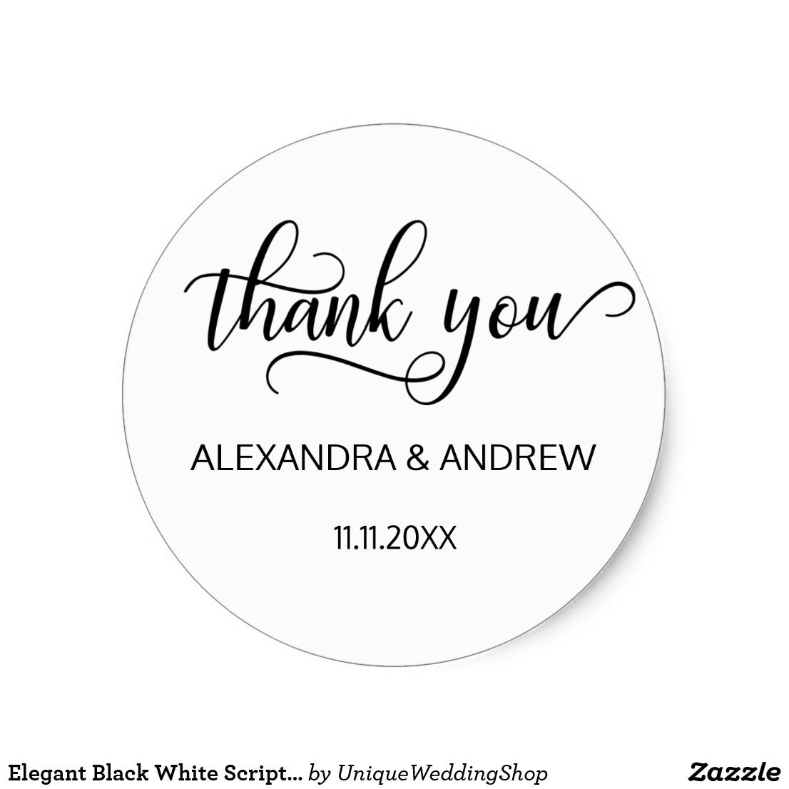 Elegant Black White Script Wedding Thank You Classic Round Sticker ...