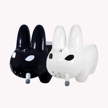 Kidrobot Smorkin Labbit Mad Cow Labbit 2.5 Inch Figure white // black