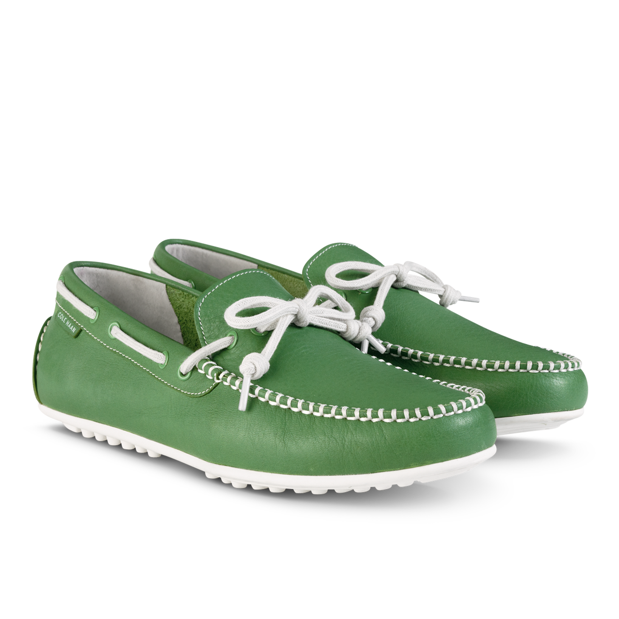 Men's green leather Grant LTE driving shoes from Cole Haan. I want these,  but in the canvas