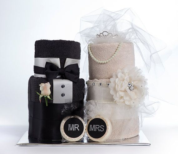 The Mr Mrs Towel Cakes Bridal Shower Or Wedding Gift On Etsy 150 00