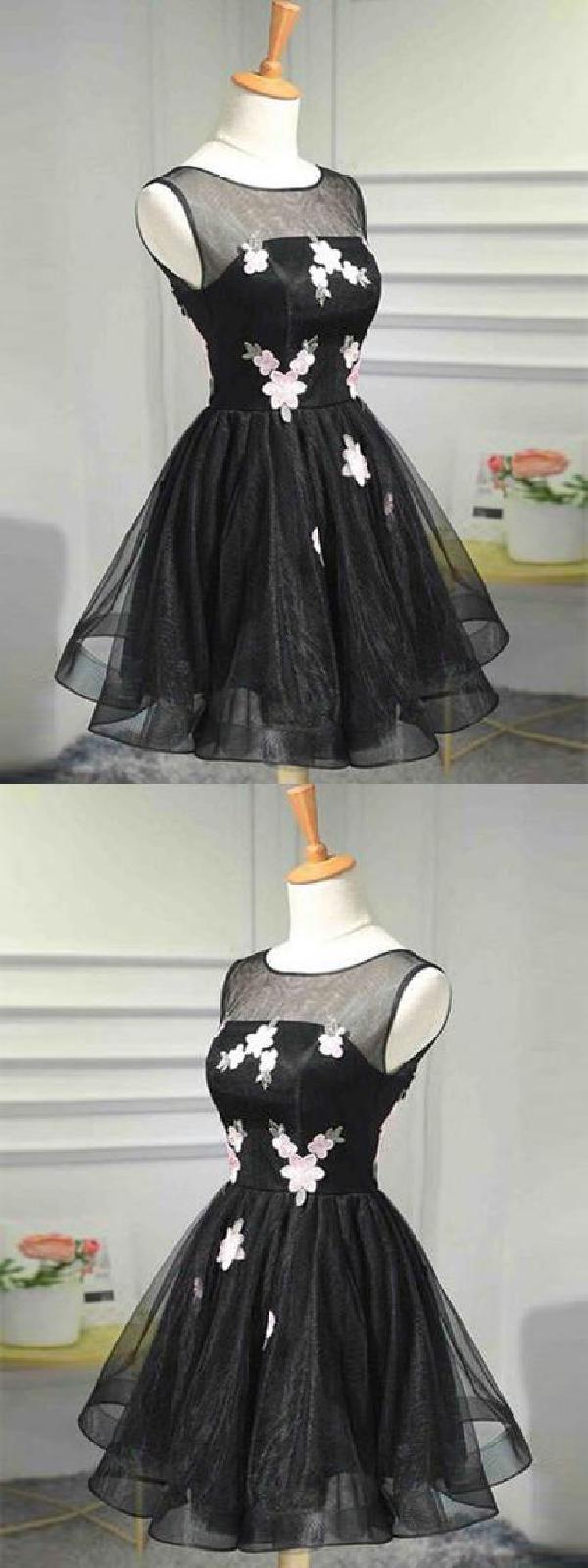Prom dress black promdressblack homecoming dress aline