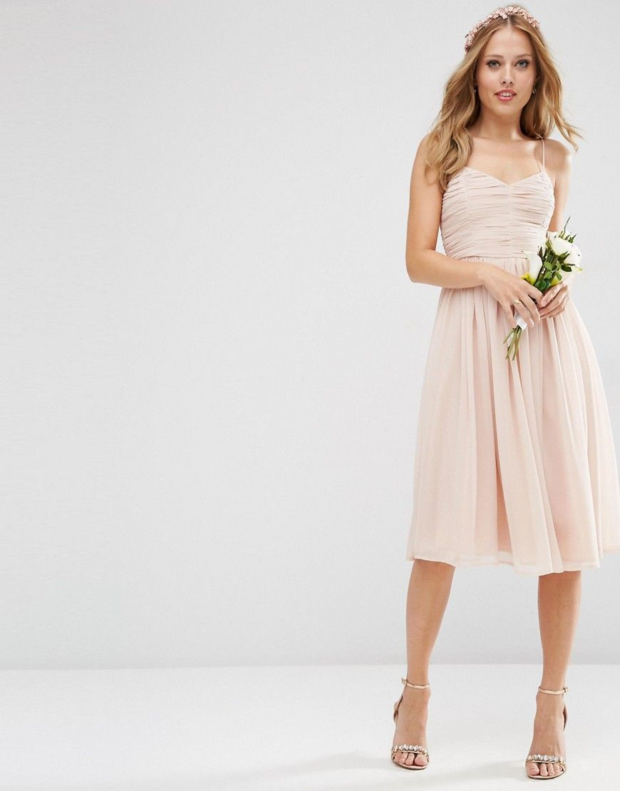 Image 1 of ASOS WEDDING Rouched Midi Dress | gifts | Pinterest ...