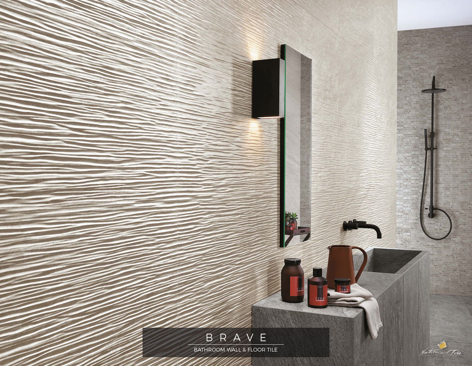 The Three Dimensional Wall Tiles Inspired By Natural Stone Brave 3d Wave Pearl 40x80 Atlas Concord 3d Tiles Bathroom Ceramic Tile Bathrooms Dimensional Tile