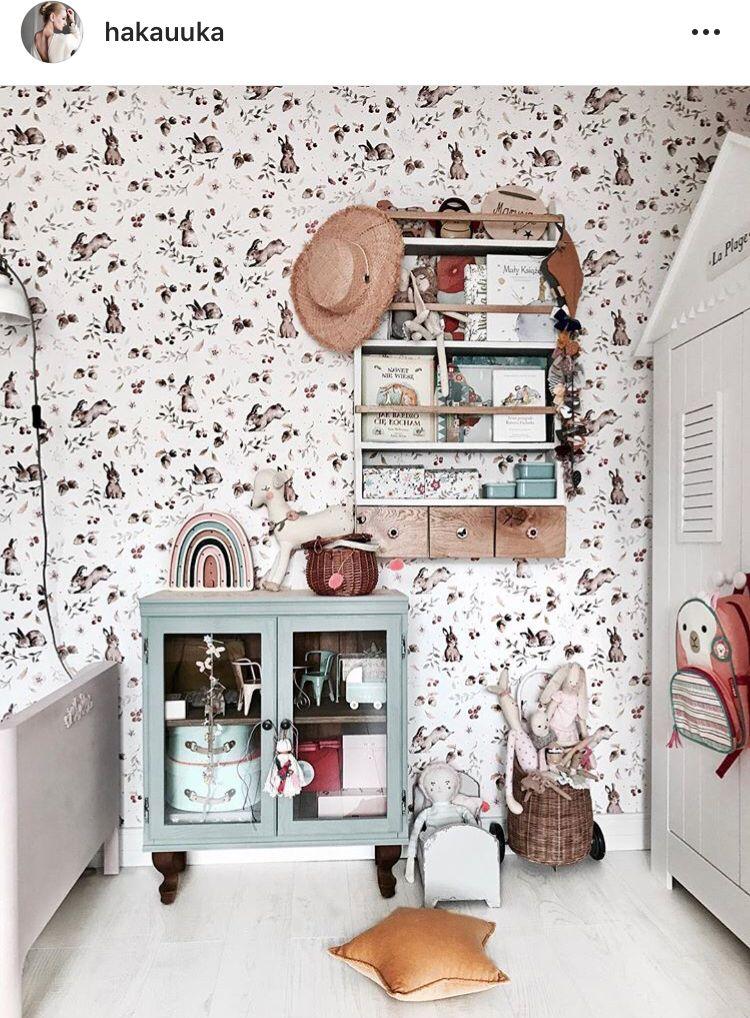 Kinderzimmer Tapete Wandgestaltung Vintage Boho Idee Inspo