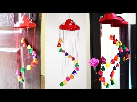 Newspaper wall hanging newspaper wind chime youtube for Waste paper craft for kids