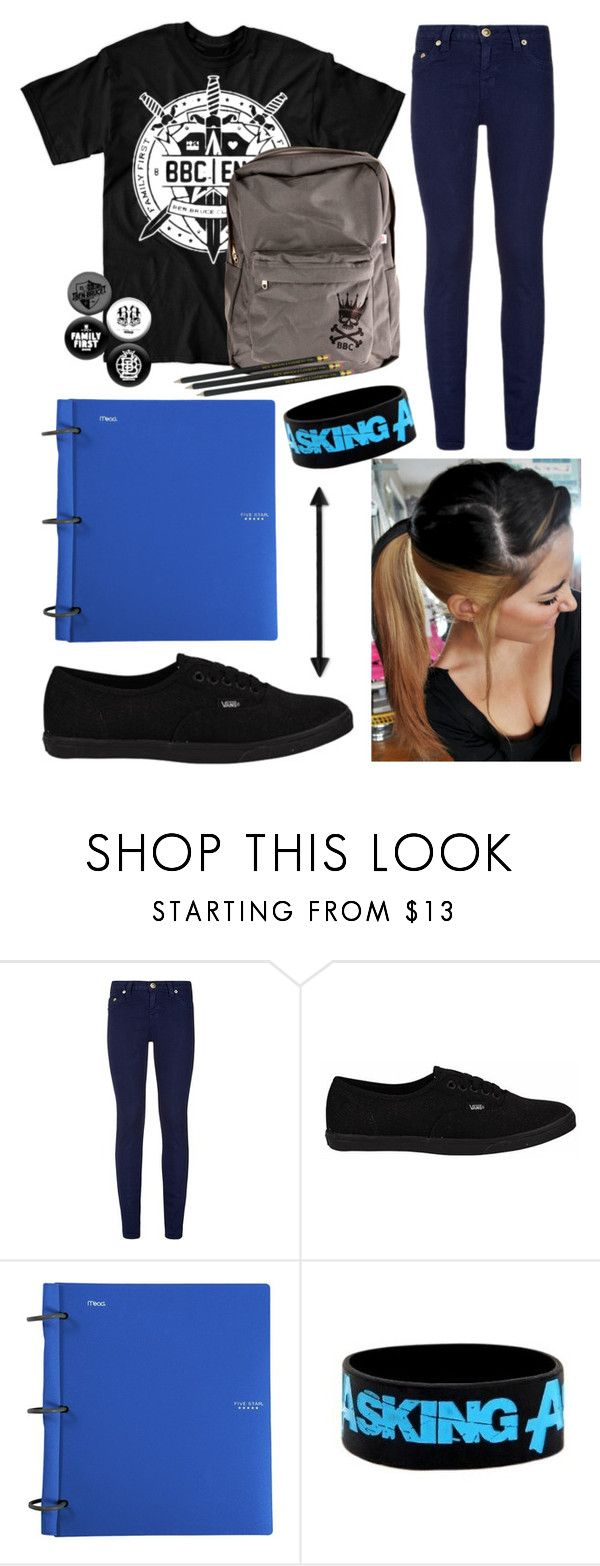 """outfit for school"" by ferny117 ❤ liked on Polyvore featuring True Religion, Vans, Mead, askingalexandria, bbc, benbruce and familyfirst"