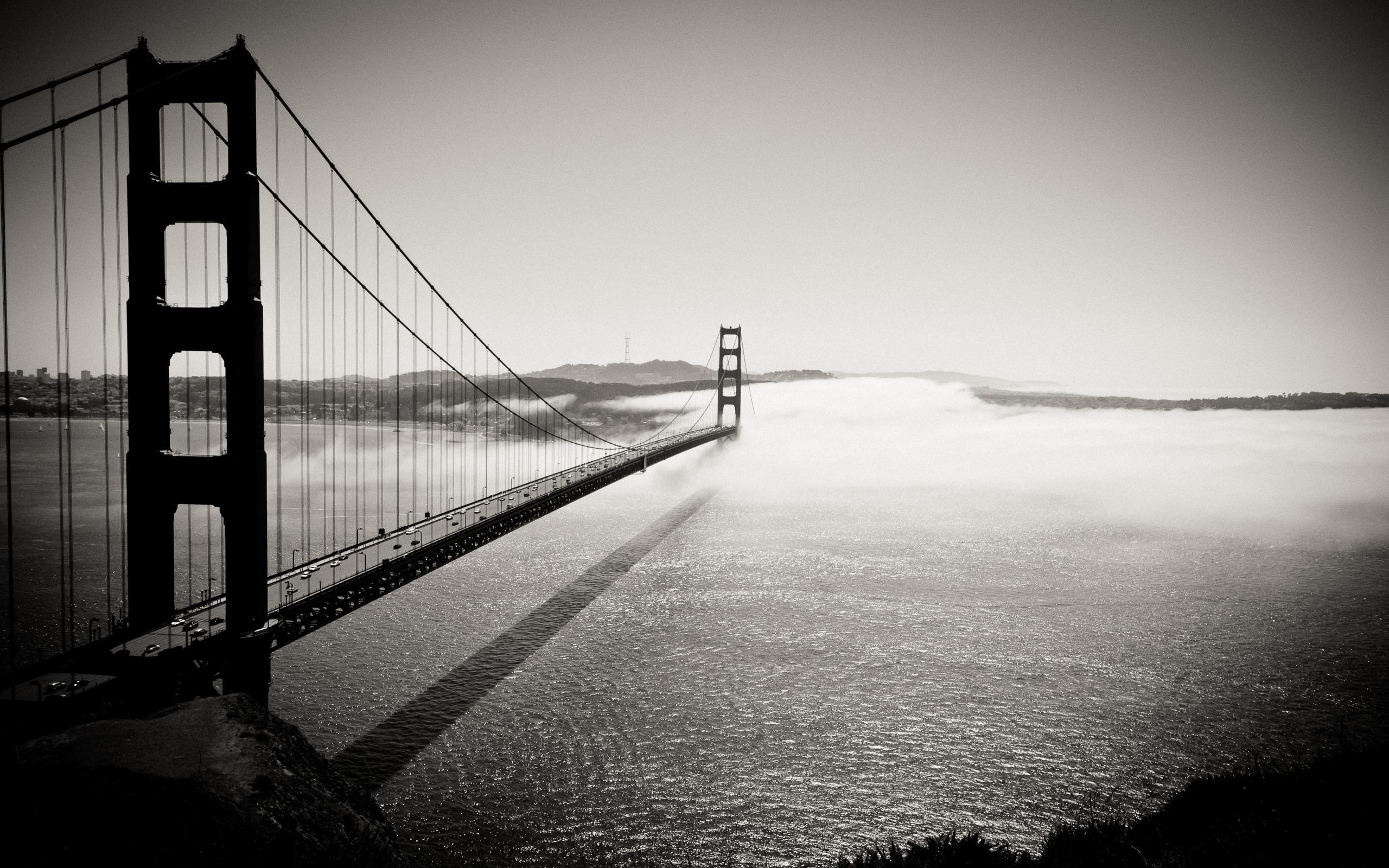 San Francisco Golden Gate Bridge Fog Lights Android Wallpaper