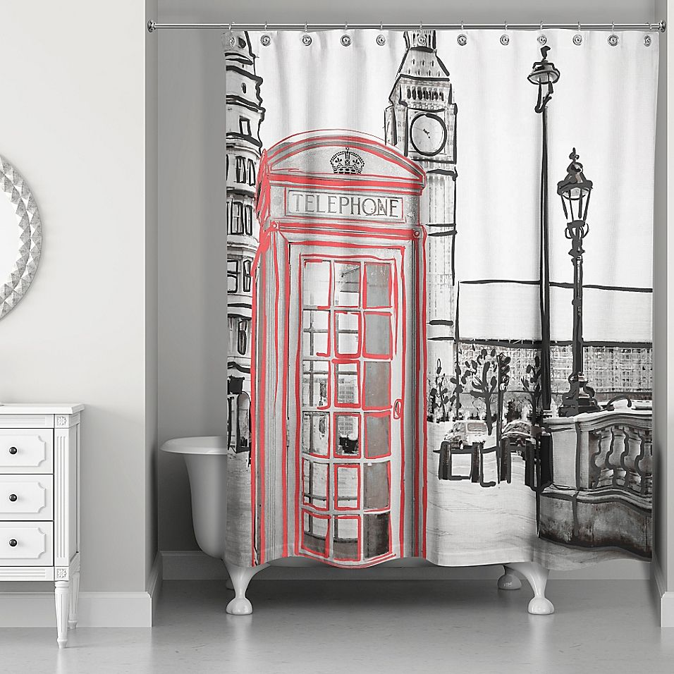 London Sketch Shower Curtain In Black Red In 2020 London Decor