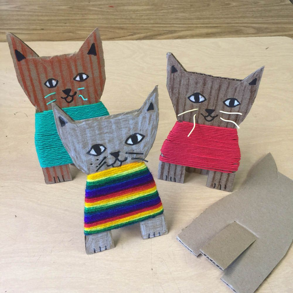 Cardboard Kittens & More · Art Projects for Kids -  Cardboard Kittens. Students that may not be ready for weaving can have fun wrapping yarn to make a  - #Art #cardboard #craftstodowhenbored #cutehomedecor #fallhomedecor #holidaycrafts #homedecorrecibidor #Kids #kittens #projects #romantichomedecor #wintercrafts #yarncrafts
