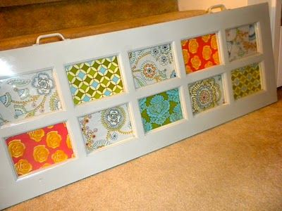 art from an old window and some fabric | decorating ...