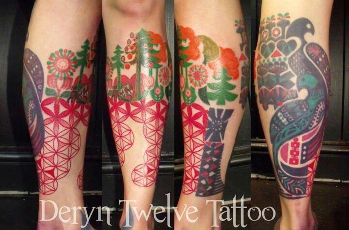 Deryn twelve tattoo uk awesome folk art inspired geometry