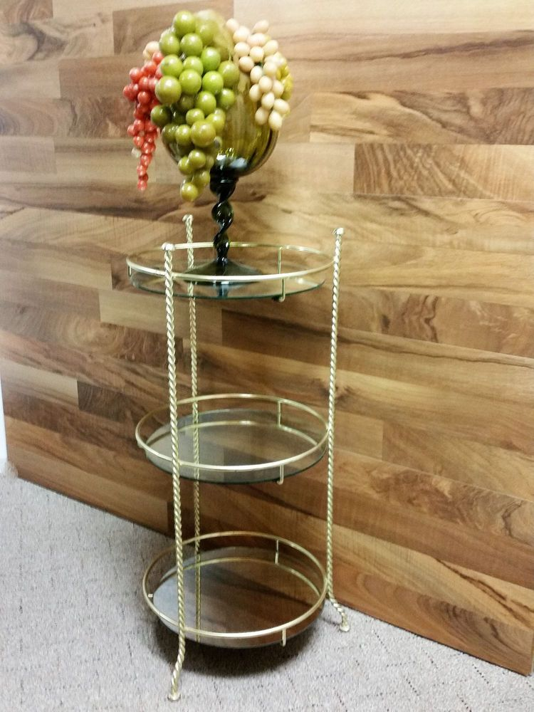 MidCentury Brass STAND DISPLAY Round Glass shelves #HollywoodRegency ...