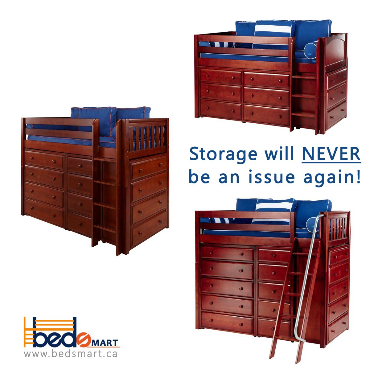 High loft bed with stairs  Storage Beds by Maxtrix Furniture Order through BEDSMART TODAY and