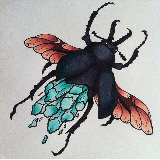 crystal bug ✨ #tattoo #larissalistless #artwork #art #cute #instagood #design #tattooapprentice #comic  #ink #crystal #bugtattoo #bug #neotraditional #traditional #crystaltattoo