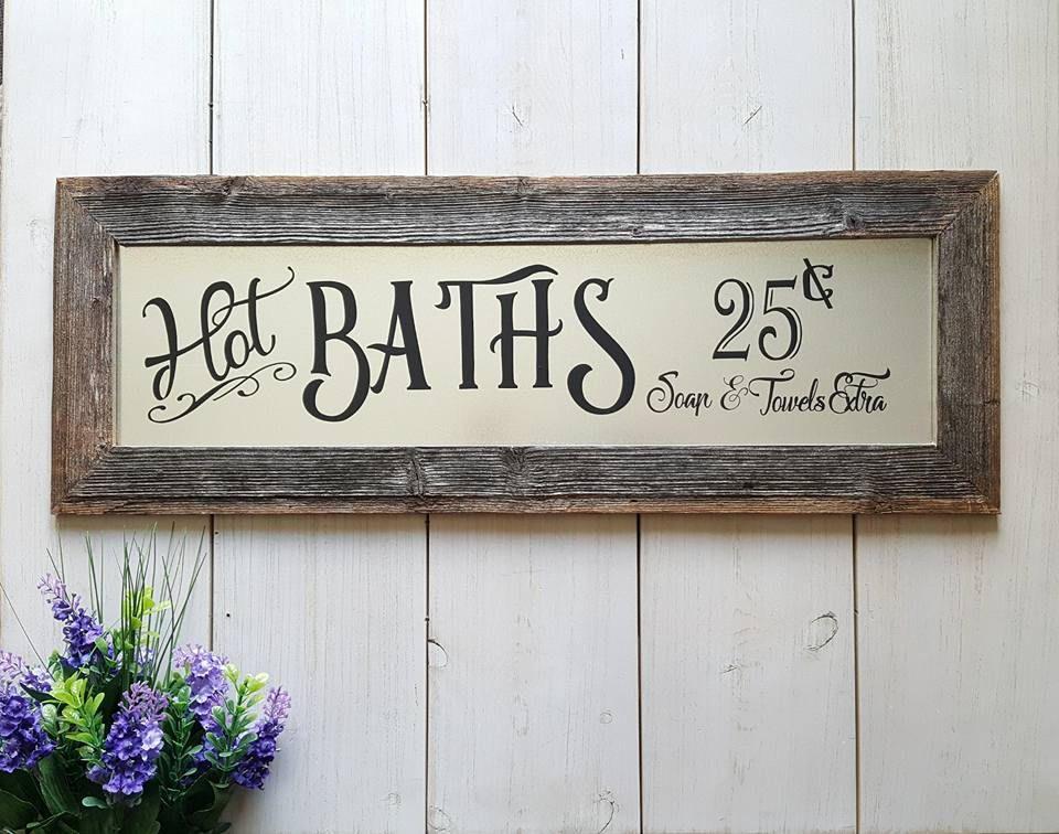 Rustic Hot Baths Barnwood Farmhouse Sign, Bathroom Wall