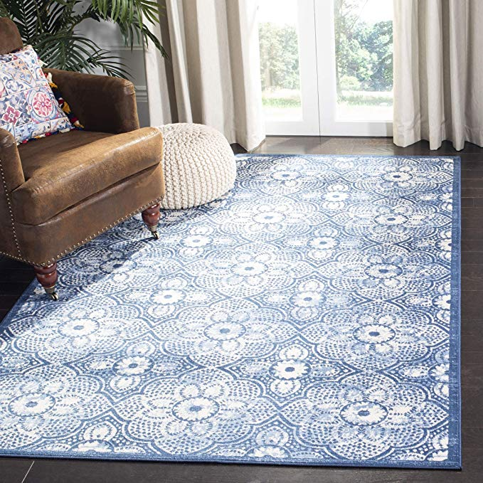 Amazon Com Safavieh Brentwood Collection Bnt862n Area Rug 9 X 12 Navy Cream Home Kitchen In 2020 Rugs Navy Rug Safavieh