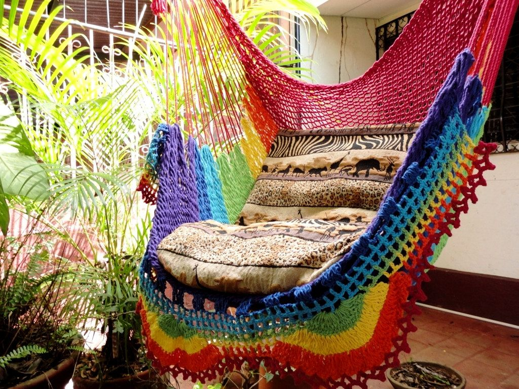 Rainbow colors sitting hammock hanging chair natural cotton and