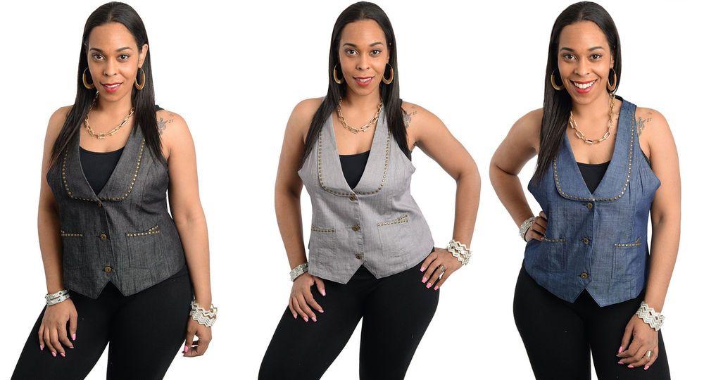 Women Sexy Plus Size Sleeveless Denim Studded Top Shirt Blouse Vest 1X-3X