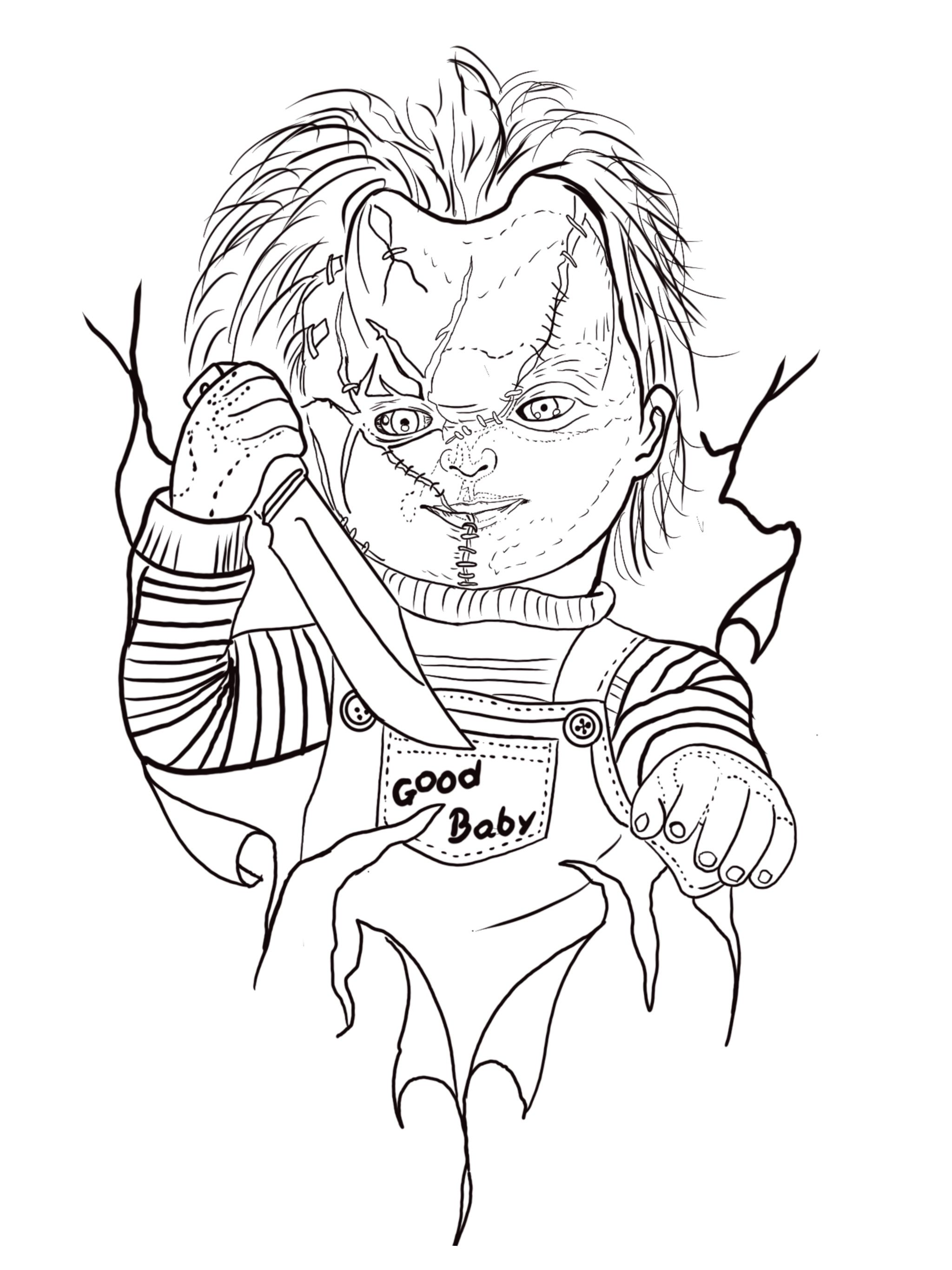 Chucky Tattoo Drawing : chucky, tattoo, drawing, Maicom, Dennis, Tattoo, Outline, Drawing,, Sleeve, Tattoos, Drawings,, Sketch, Design