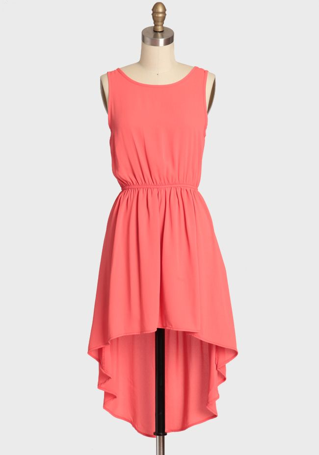 Into The Tropics High-low Dress 42.99 at shopruche.com. Rendered in vibrant coral, this silky asymmetrical dress is the perfect palette for all of your statement jewelry. Completed with an alluring scoop back and an elasticized waist for a comfortable and flattering silhouette. Semi-sheer. Partially...