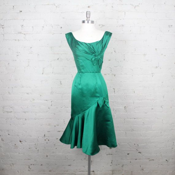 Wonderful 1960s Ceil Chapman Dress Green Satin Wiggle Bombshell Hollywood Glamour Mad  Men Gown S