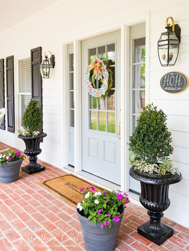 Farmhouse style front porch and easy containers