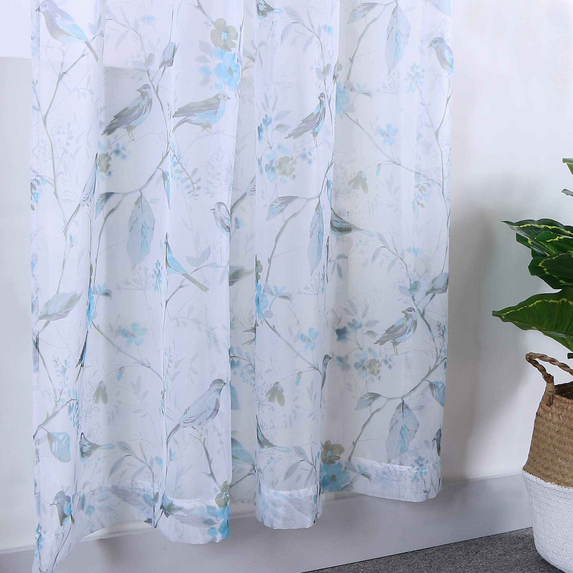 Holking Sheer Window Curtains Drapes Panelsblue Birds Printed Voile Sheer Curtains For Living Room 52 Curtains Living Room Sheer Curtain Panels Sheer Curtains