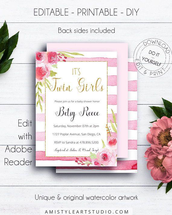 Gold Glitter Its Twin Girls Shower Invitation Baby Shower - It's a girl baby shower invitation templates