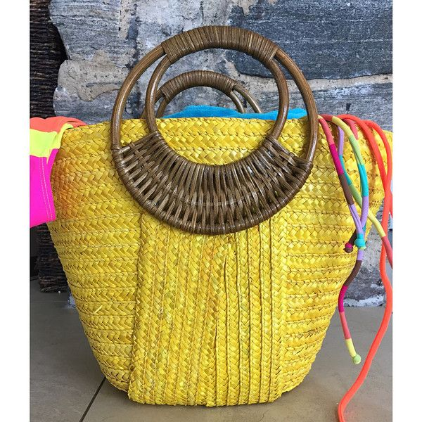 Beach Glam Tropical Colored Beach Bags ($40) ❤ liked on Polyvore featuring bags, handbags, woven purse, beach tote bags, woven bag, yellow bag and yellow handbag