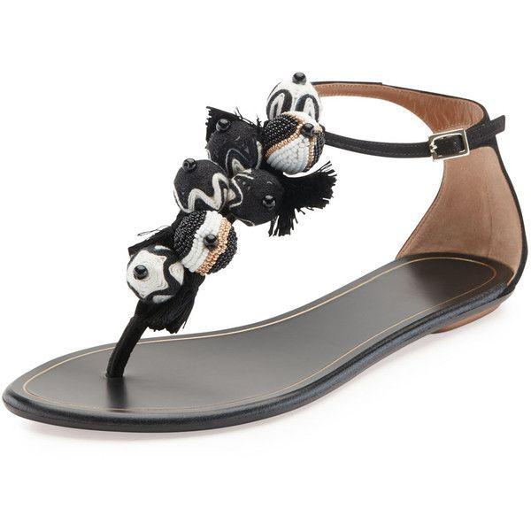 824f98f0a Aquazzura Tropicana Tassel Flat Thong Sandal ( 299) ❤ liked on Polyvore  featuring shoes