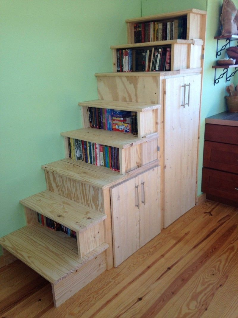 Tiny House Design Staircase Bookshelf Stair Shelves Book Loft Stairs