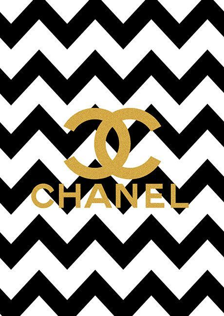 limited edition gold chanel logo black chevron print on