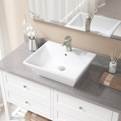 MRDirect Vitreous China Rectangular Vessel Bathroom Sink with Faucet