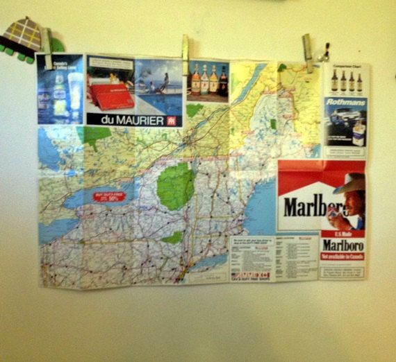 Vintage USA Canada Road Map Old American Maps Liquor and