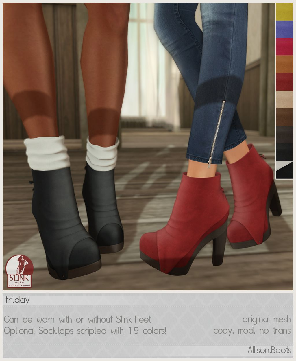 Fri.day Allison Boots, 10 variations available - demo available - optional sock tops, scripted with 15 colors included w/ HUD - non slink & slink versions included - 188L each