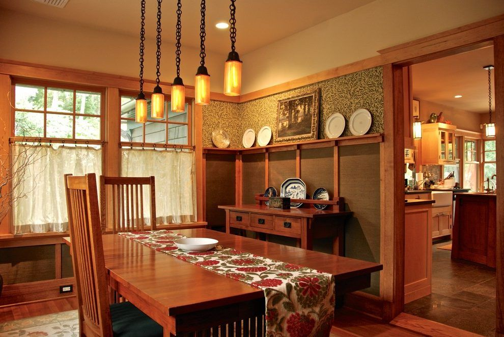 Wood Trim Decorating Dining Room Craftsman With Frieze Board Amusing Craftsman Dining Room Lighting Design Inspiration