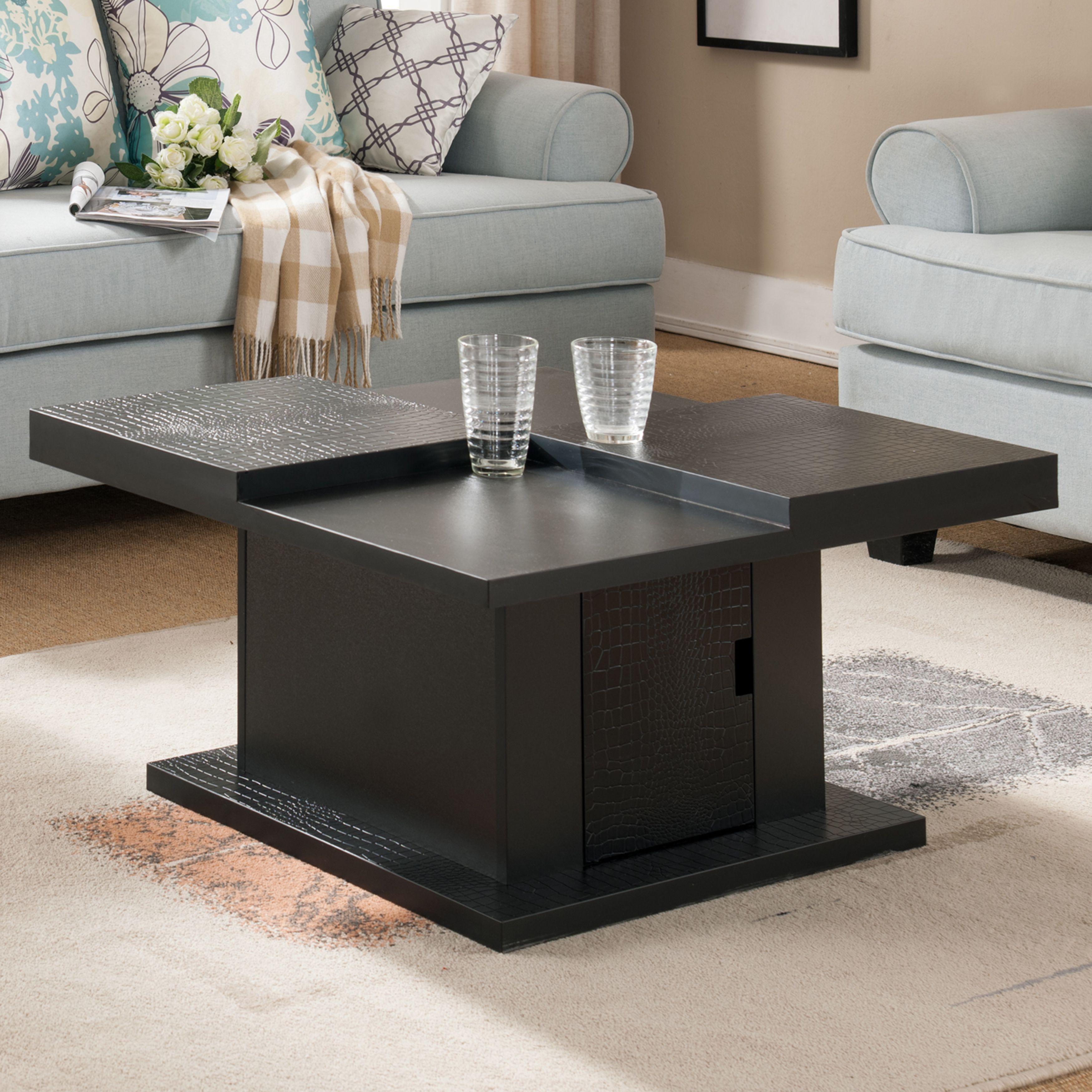 Furniture of America Croliz Modern Black Crocodile Textured Square