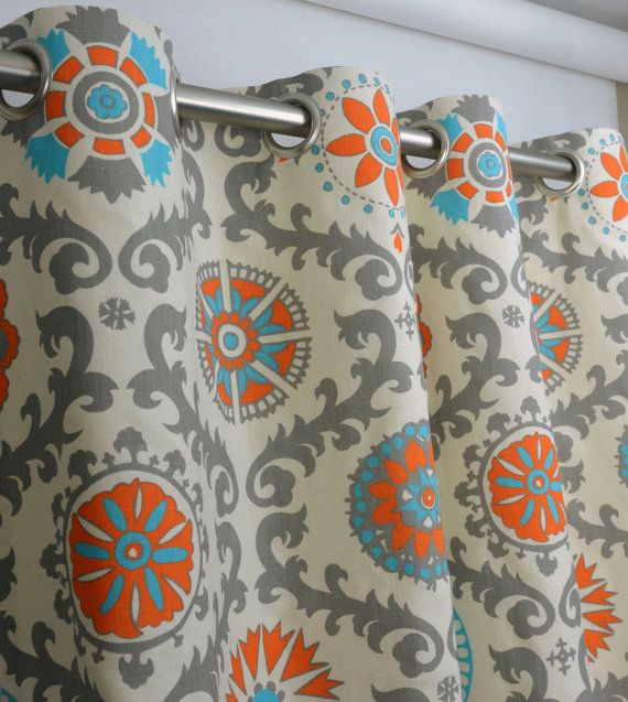 Pair Of Grommet Top Curtains In Mandarin Orange And Natural Rosa Print  Dossett