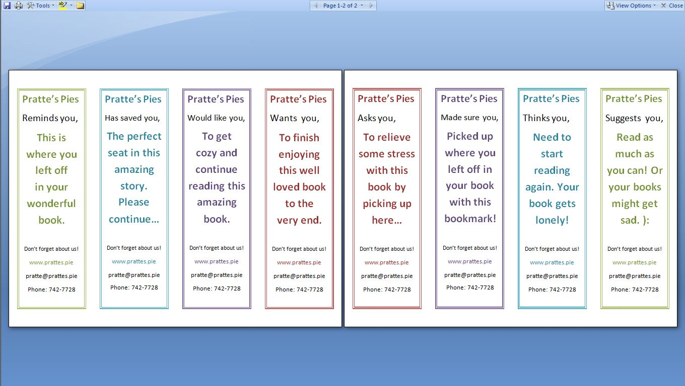 Double Sided Bookmark Template Free Google Search Bookmark