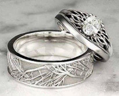 Cincin Kawin Bahan Palladium Desain Batik Laser Bentuk Akar Pohon Elegant Keterangan Untuk Berat Minimal 6 Gram Cincin Dap Cincin Perkawinan Perhiasan Cincin