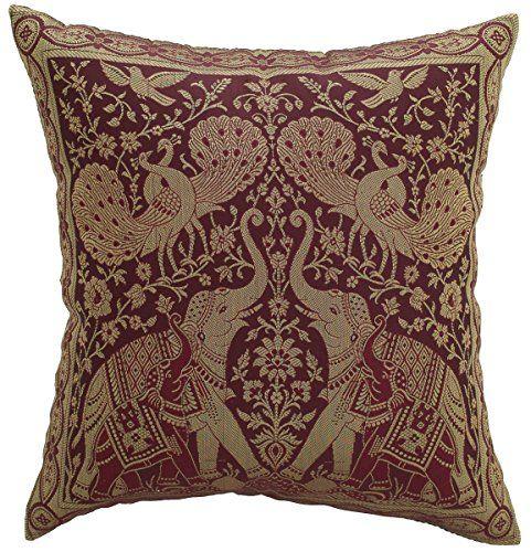 Avarada India Style Elephant Peacock Decorative Throw Pillow Cover 16x16 Inch Maroom Avarada Peacock Throw Pillows Decorative Throw Pillow Covers Throw Pillows