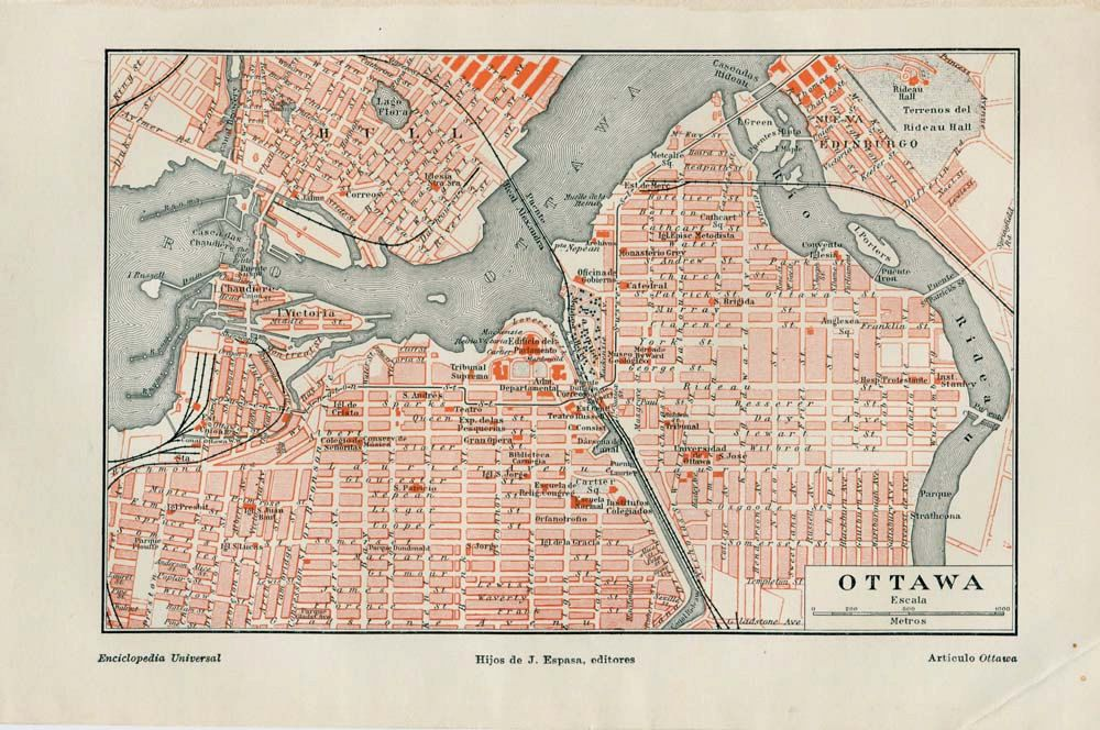 parts of old ottawa 1920s ottawa map vintage street plan city map canada retro
