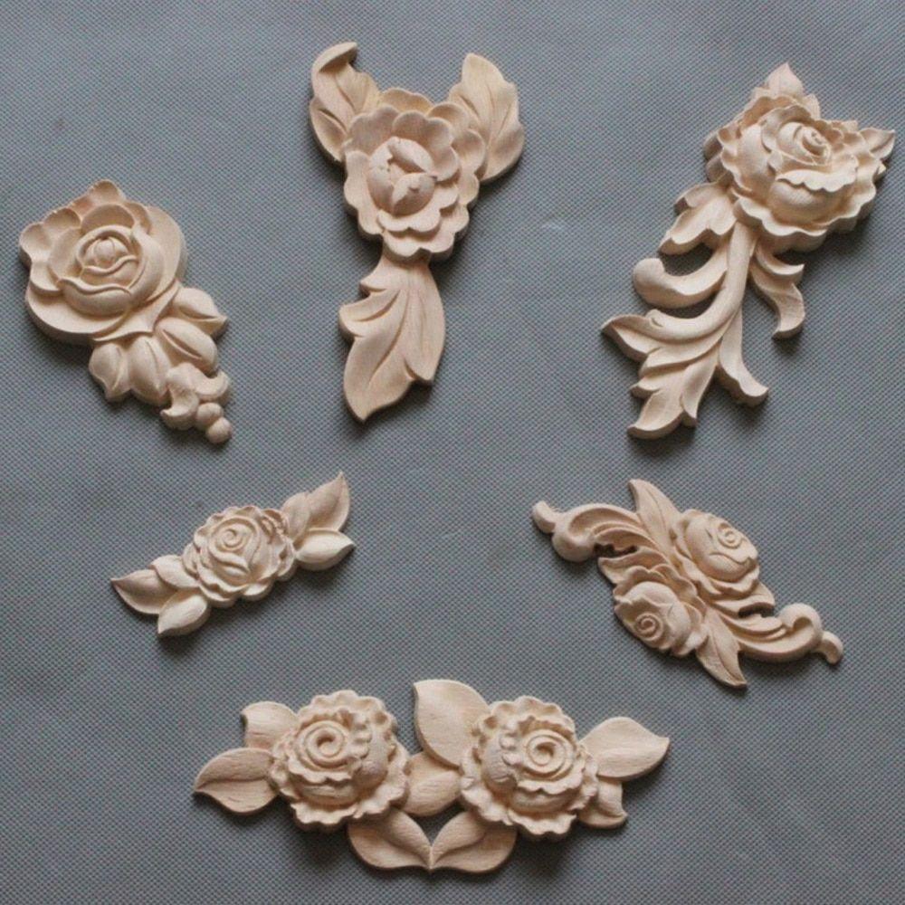 1//4Pcs Unpainted Oak Wood Rose Floral Applique Carved Corner Onlay Decal Décor