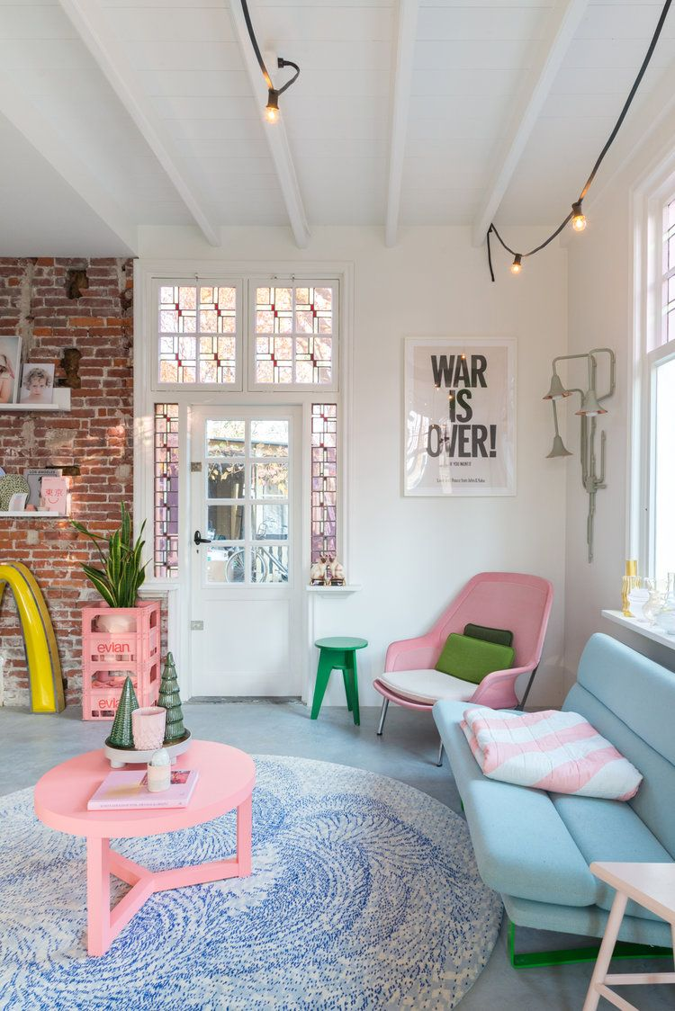 Tour This Colorful + Cheerful Dutch Home   Pastel house, House ...